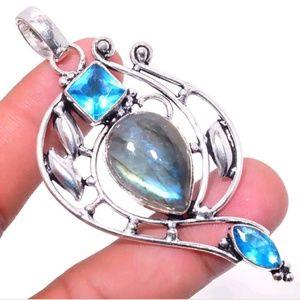 Labradorite with blue Topaz 925 silver